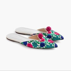 Jcrew Floral Needlepoint Pom Pom Loafer